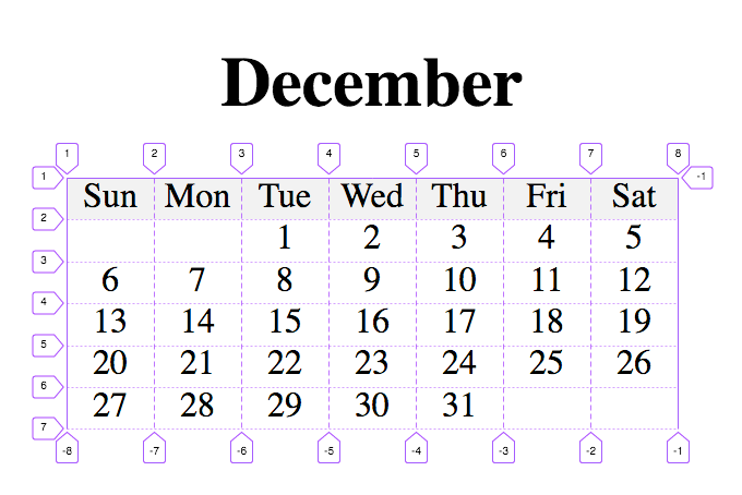 Calendar with CSS Grid